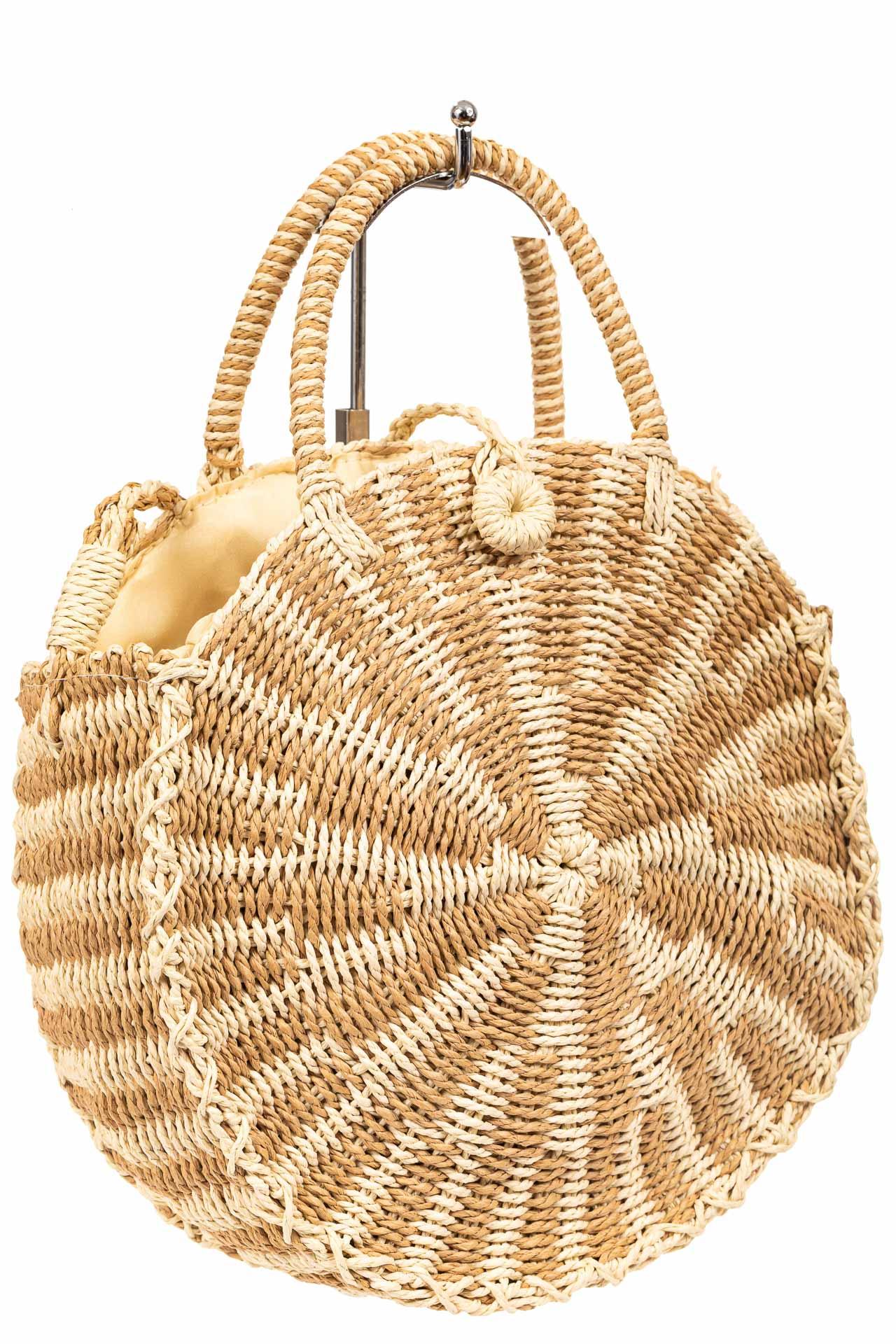 Круглая плетеная сумка из соломы, цвет бежевый с кремовым9647SS0420/10