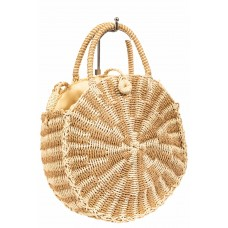 На фото 1 - Круглая плетеная сумка из соломы, цвет бежевый с кремовым