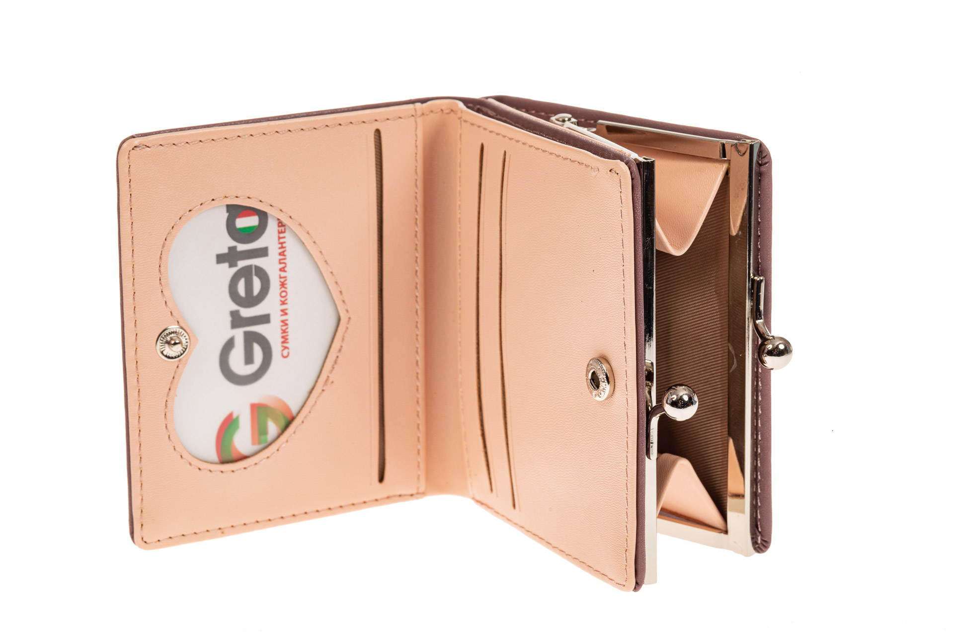 На фото 2 - Кошелек-портмоне из искусственной кожи, цвет пудра