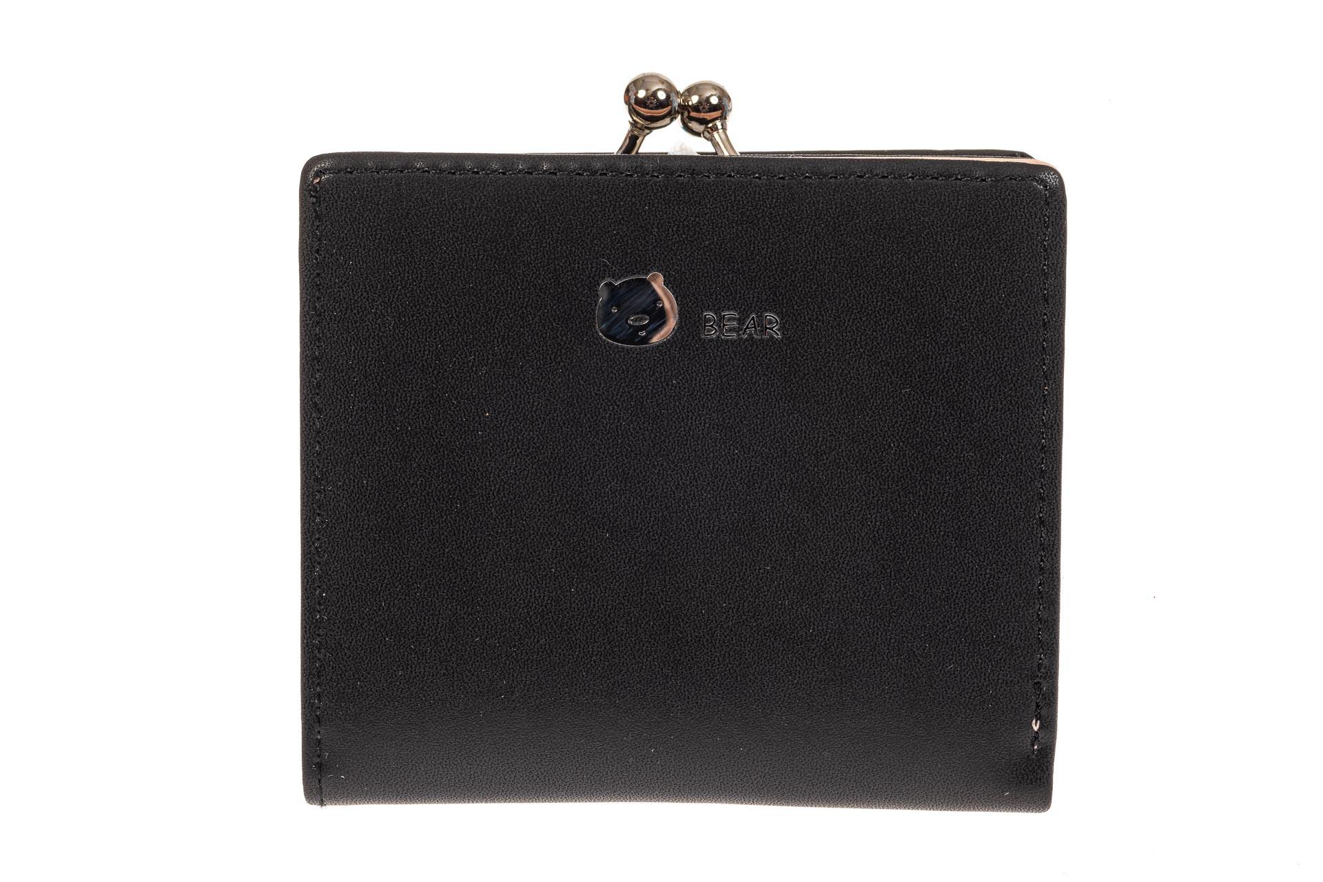 На фото 1 - Кошелек-портмоне из искусственной кожи, цвет черный