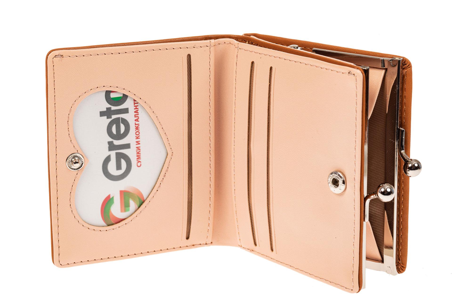 На фото 2 - Кошелек-портмоне из искусственной кожи, цвет рыжий