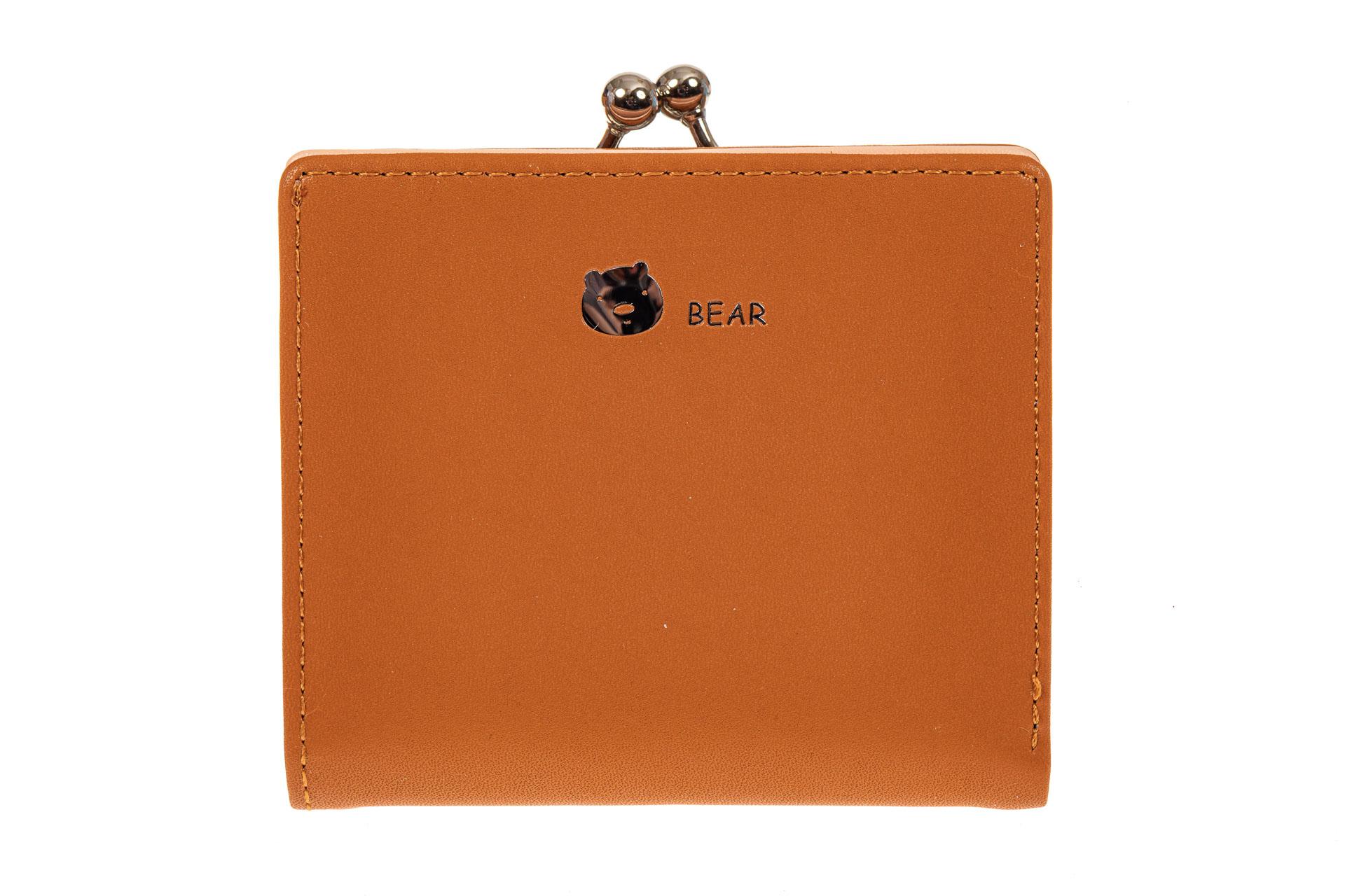 На фото 1 - Кошелек-портмоне из искусственной кожи, цвет рыжий