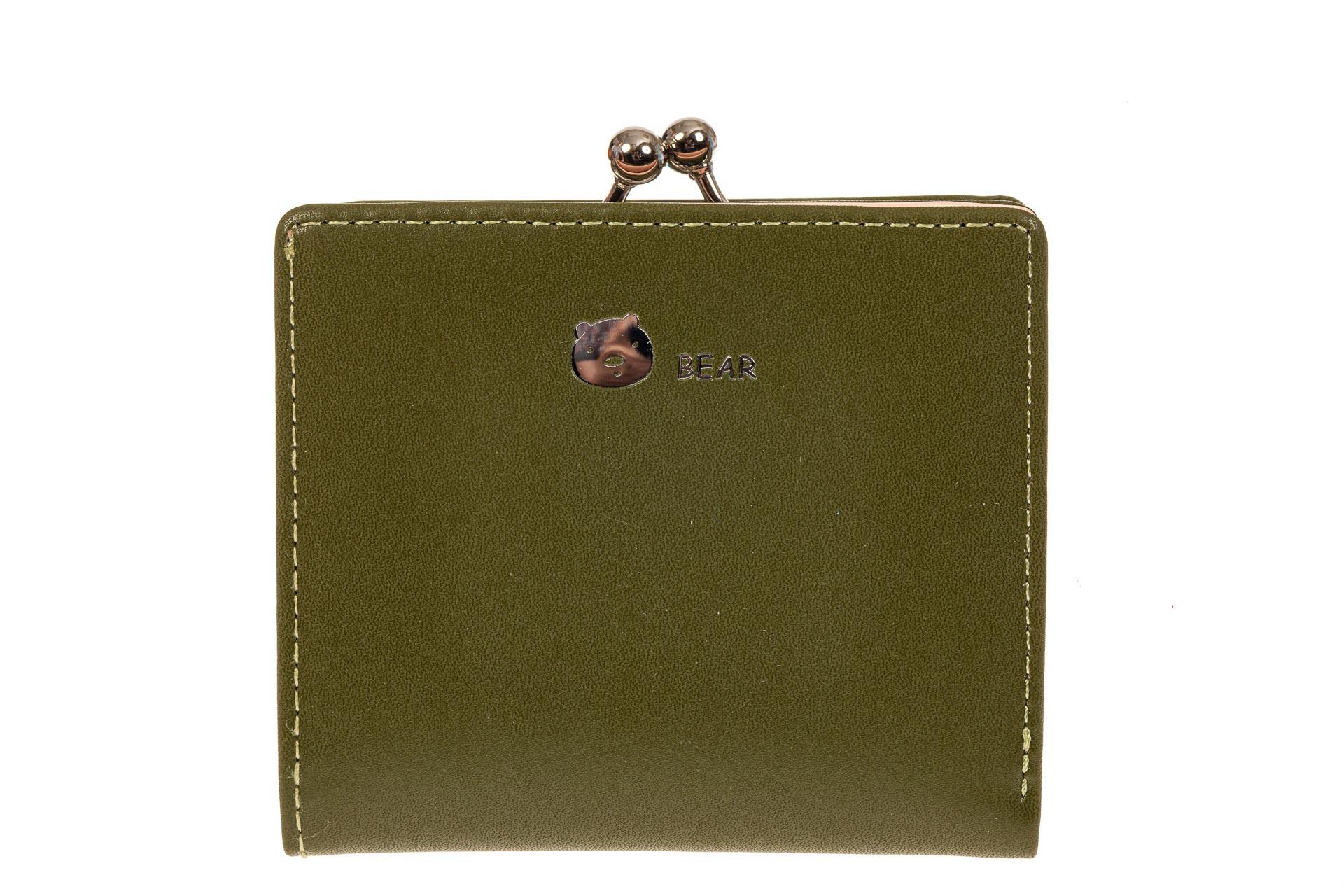 На фото 1 - Кошелек-портмоне из искусственной кожи, цвет зеленый