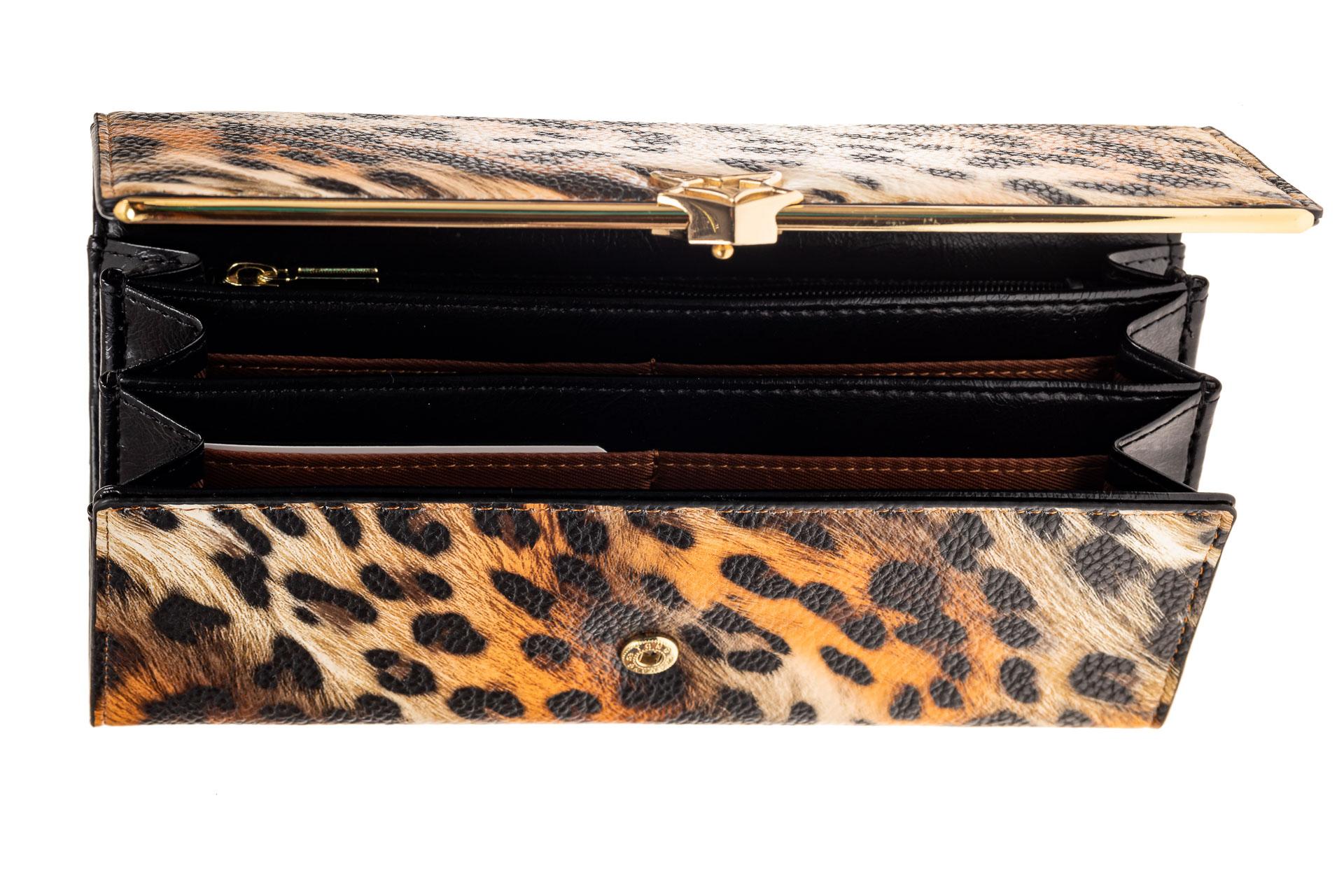 На фото 2 - Полноразмерный женский кошелек из искусственной кожи, цвет леопард