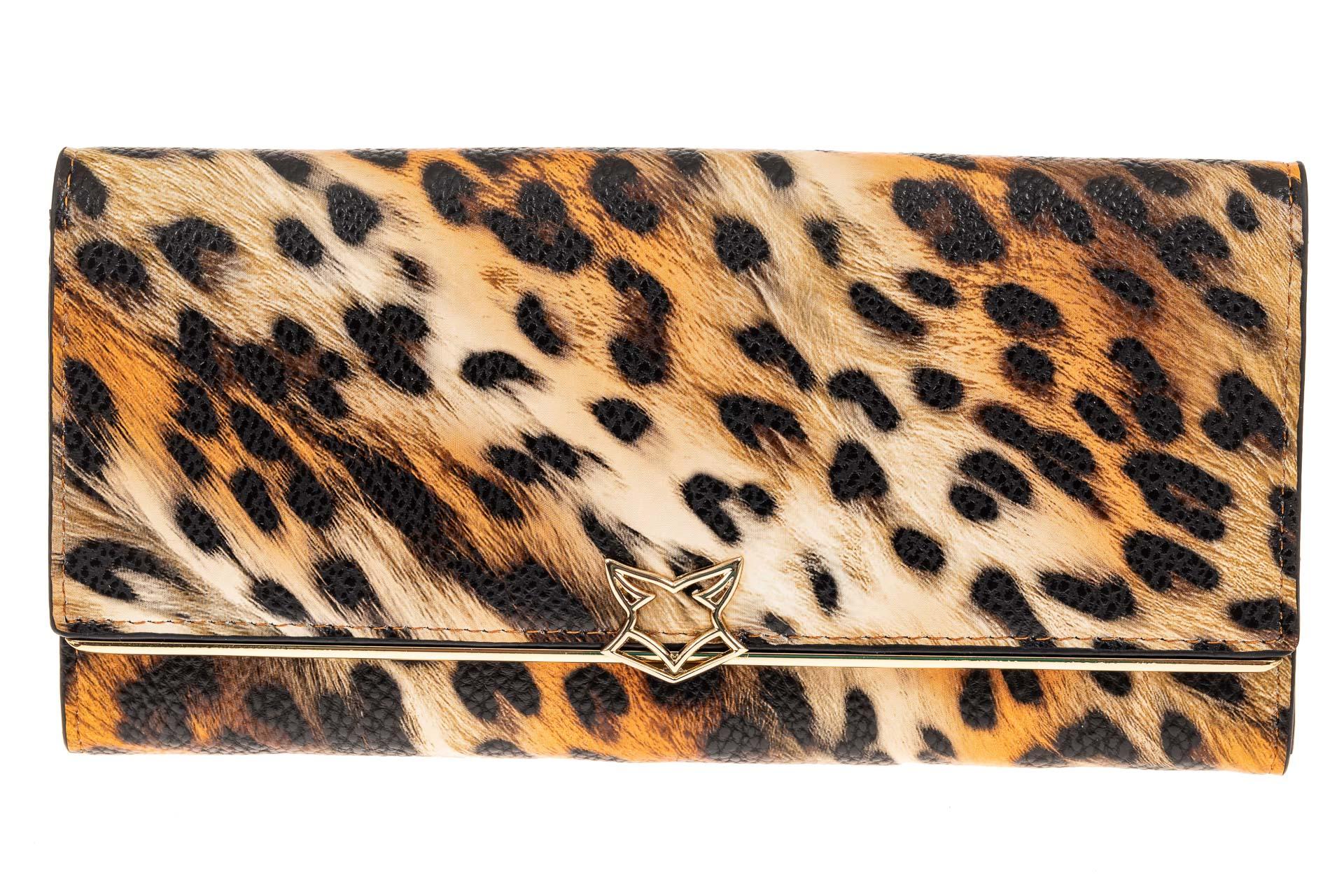 На фото 1 - Полноразмерный женский кошелек из искусственной кожи, цвет леопард