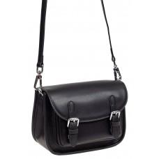 На фото 1 - Кожаная сумка Saddle Bag, цвет черный