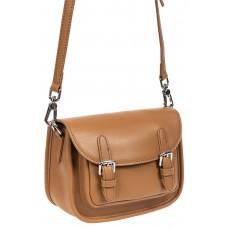 На фото 1 - Кожаная сумка Saddle Bag, цвет бежевый