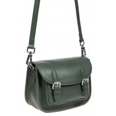 На фото 1 - Кожаная сумка Saddle Bag, цвет зеленый