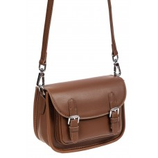 На фото 1 - Кожаная сумка Saddle Bag, цвет коричневый