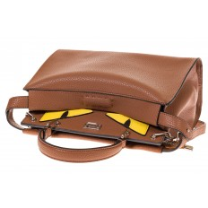 На фото 4 - Коричневая сумка-кошка из эко-кожи 9715PJ