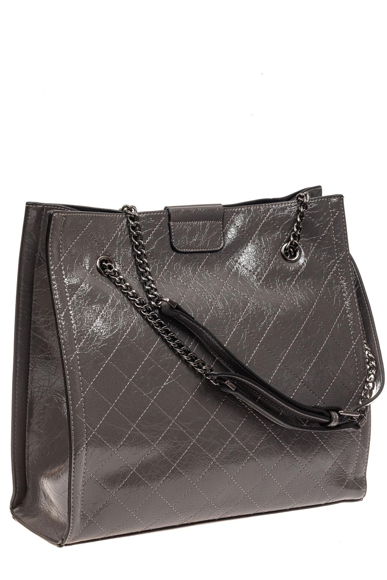 На фото 1 - Стеганая женская сумка из искусственной кожи, цвет серый