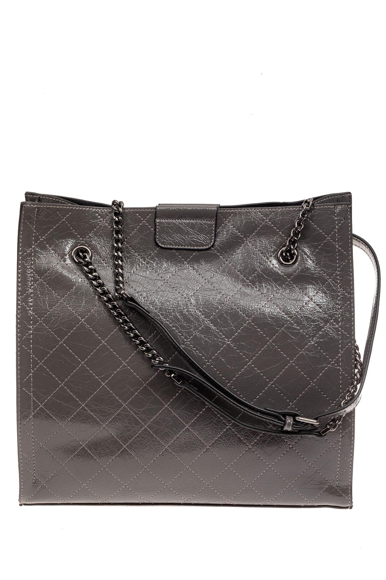 На фото 2 - Стеганая женская сумка из искусственной кожи, цвет серый