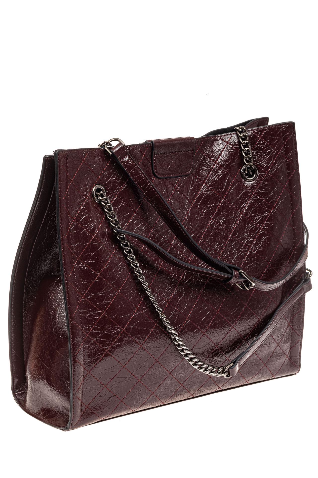 На фото 1 - Стеганая женская сумка из искусственной кожи, цвет баклажан