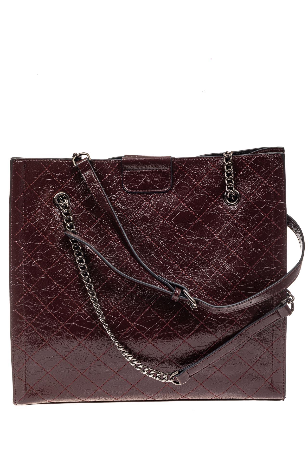 На фото 2 - Стеганая женская сумка из искусственной кожи, цвет баклажан
