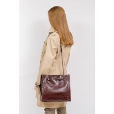 На фото 5 - Стеганая женская сумка из искусственной кожи, цвет баклажан