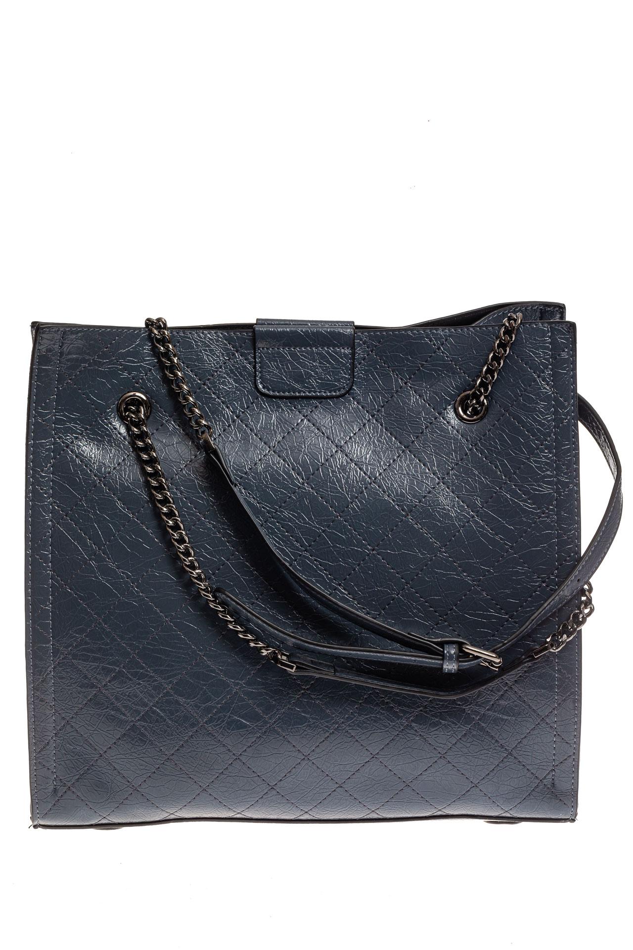 На фото 2 - Стеганая женская сумка из искусственной кожи, цвет голубой