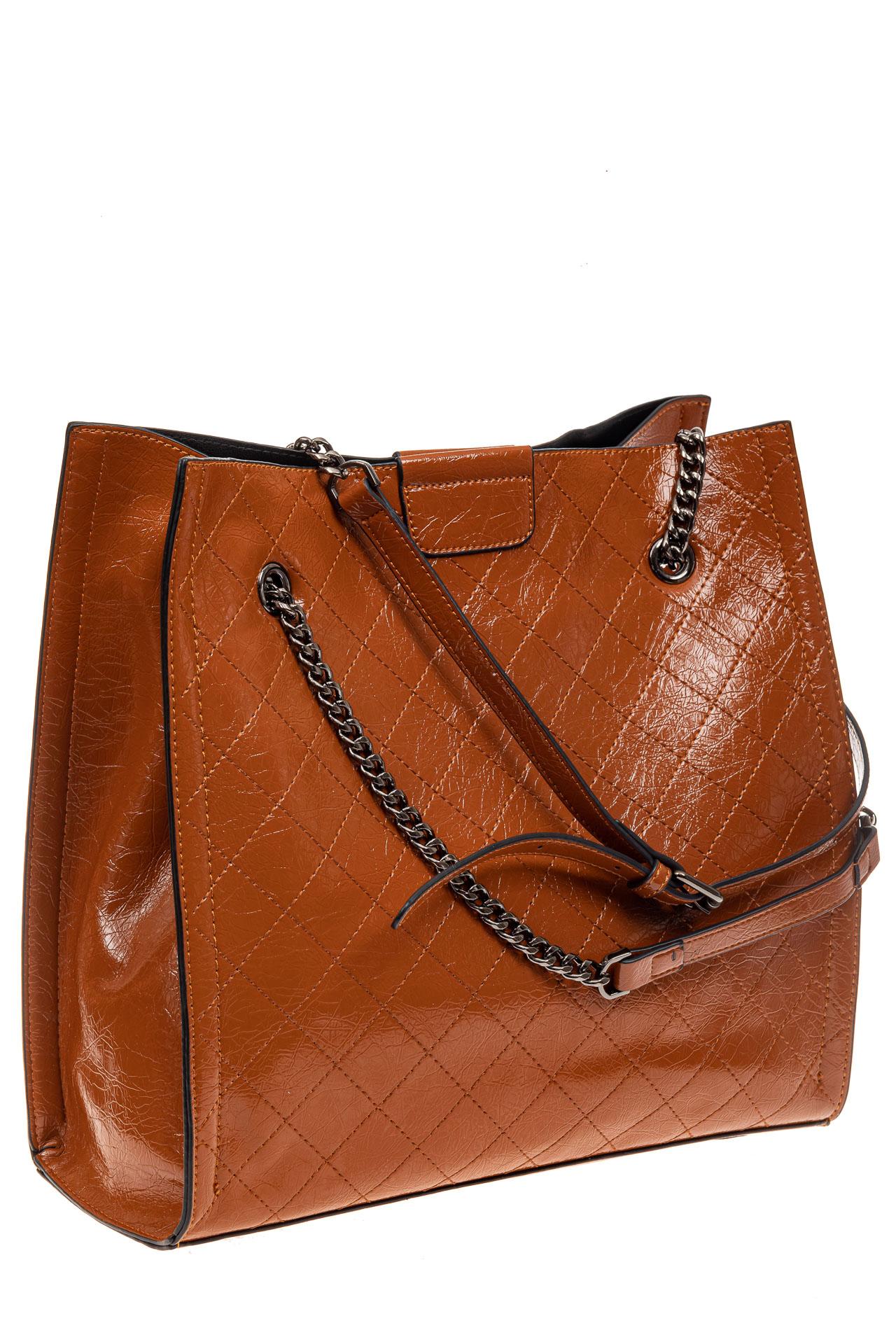На фото 1 - Стеганая женская сумка из искусственной кожи, цвет рыжий