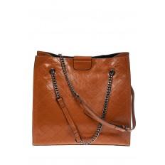 На фото 2 - Стеганая женская сумка из искусственной кожи, цвет рыжий