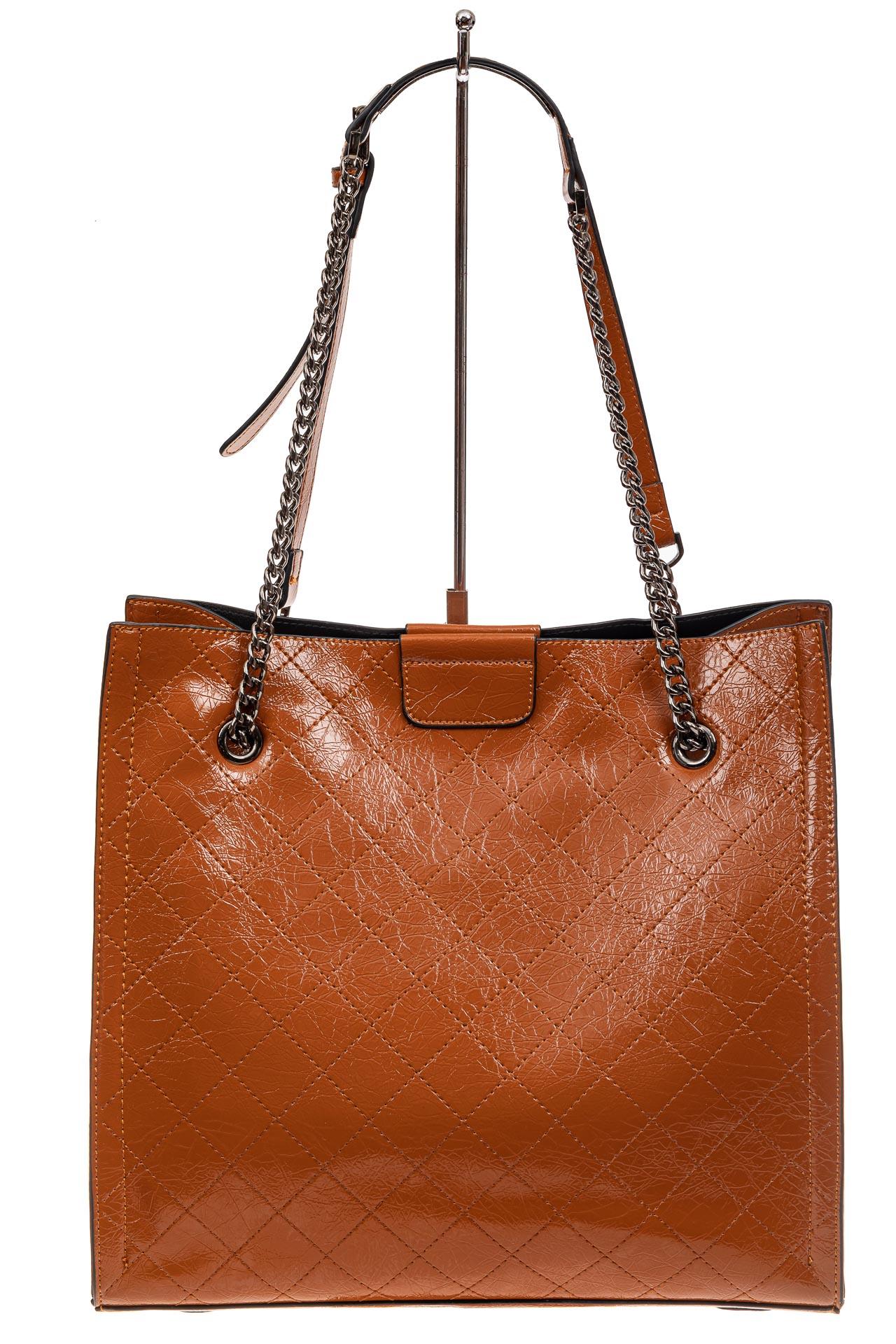 На фото 3 - Стеганая женская сумка из искусственной кожи, цвет рыжий