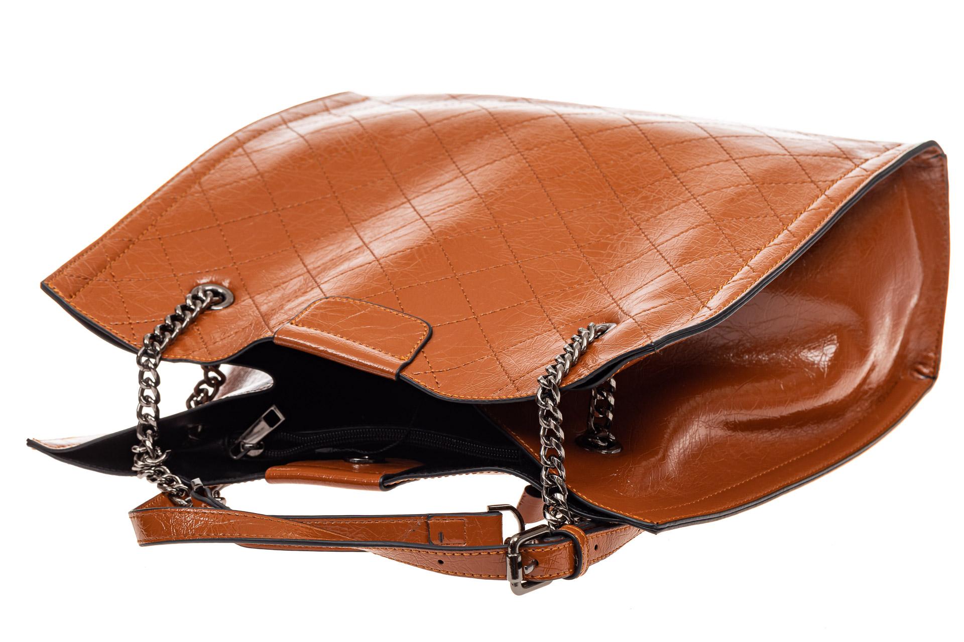 На фото 4 - Стеганая женская сумка из искусственной кожи, цвет рыжий