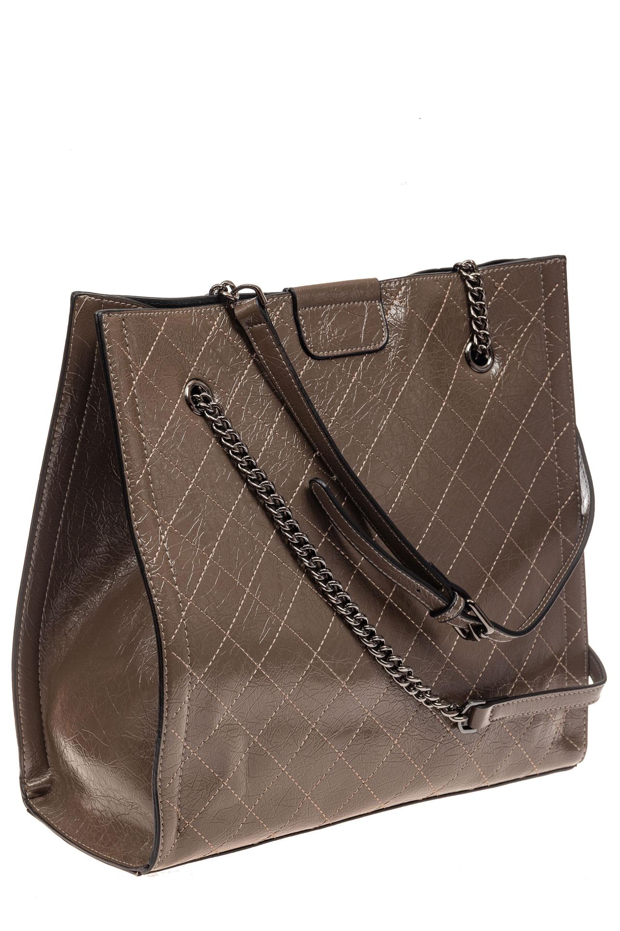 На фото 1 - Стеганая женская сумка из искусственной кожи, цвет коричневый