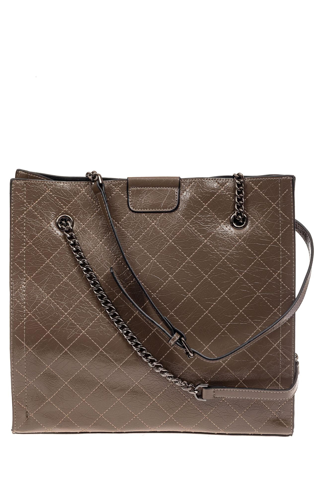 На фото 2 - Стеганая женская сумка из искусственной кожи, цвет коричневый