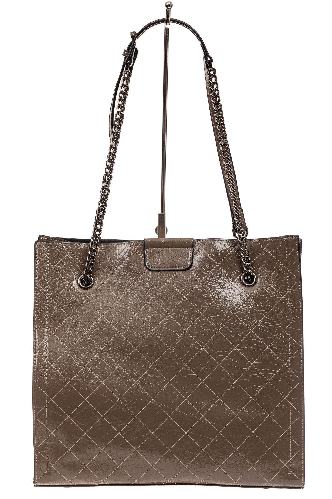 На фото 3 - Стеганая женская сумка из искусственной кожи, цвет коричневый