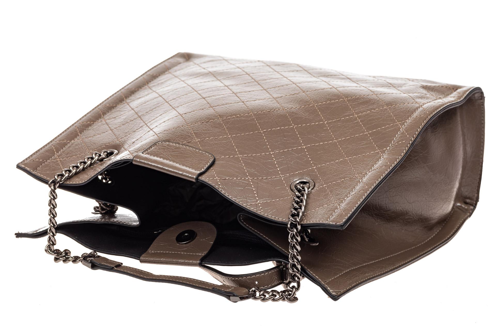 На фото 4 - Стеганая женская сумка из искусственной кожи, цвет коричневый