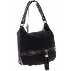 На фото 1 - Женская комбинированная сумка хобо с подвесками-кисточками, цвет чёрный