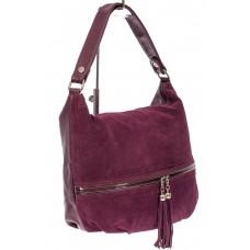 На фото 1 - Женская комбинированная сумка хобо с подвесками-кисточками, цвет баклажан