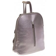 На фото 1 - Лаконичный рюкзак из искусственной кожи фиолетово-серого цвета