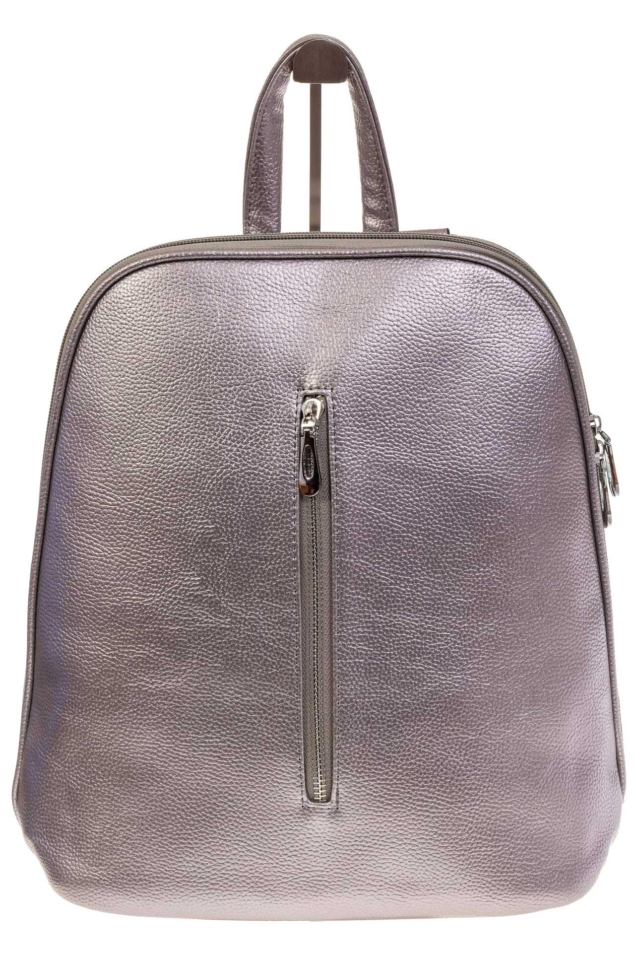 На фото 2 - Лаконичный рюкзак из искусственной кожи фиолетово-серого цвета
