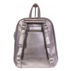 На фото 3 - Лаконичный рюкзак из искусственной кожи фиолетово-серого цвета