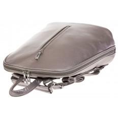 На фото 4 - Лаконичный рюкзак из искусственной кожи фиолетово-серого цвета
