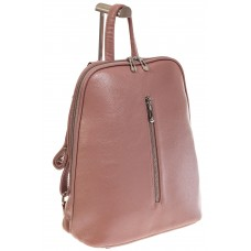 На фото 1 - Лаконичный рюкзак из искусственной кожи розового цвета