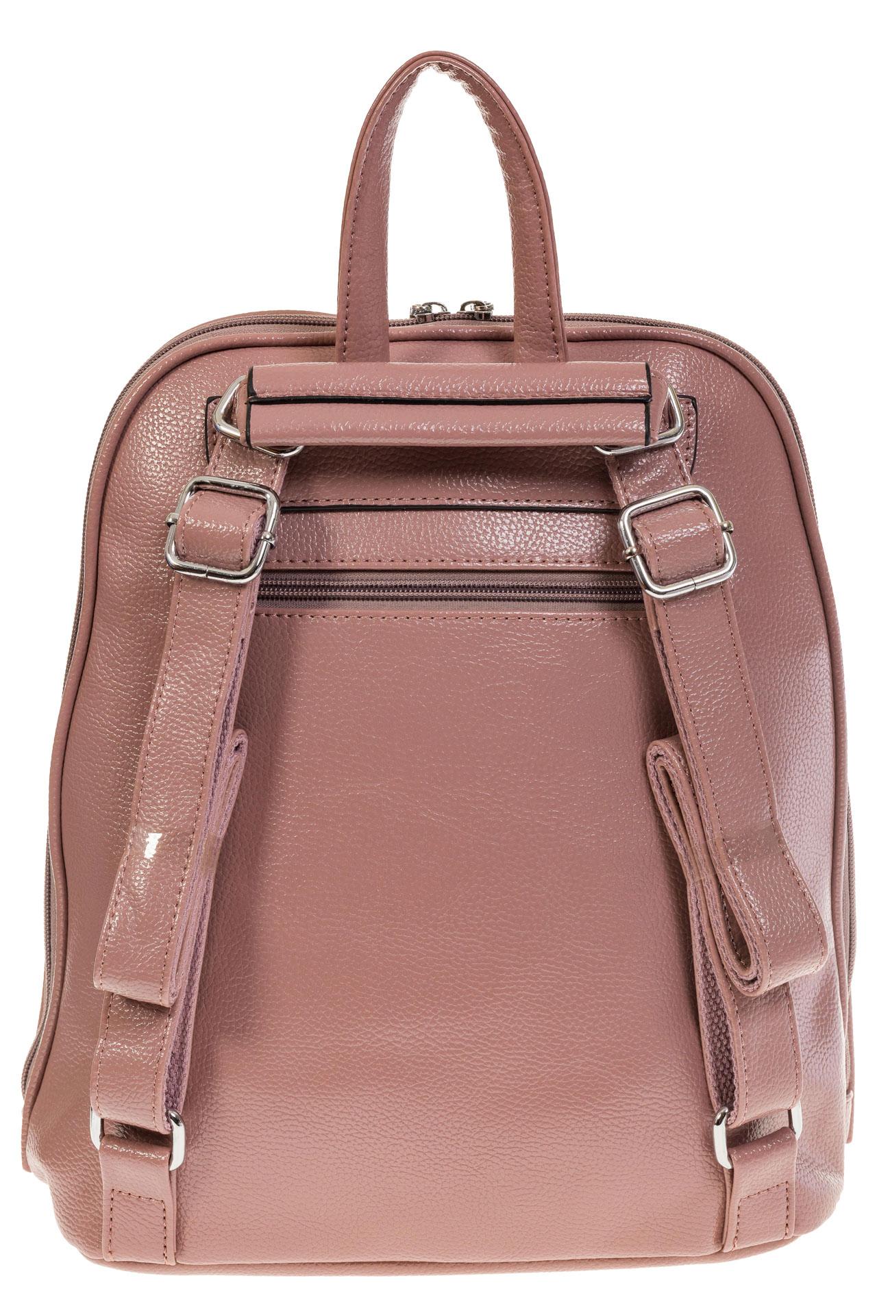 На фото 3 - Лаконичный рюкзак из искусственной кожи розового цвета