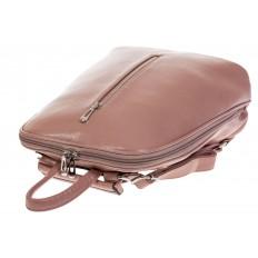 На фото 4 - Лаконичный рюкзак из искусственной кожи розового цвета