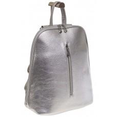 На фото 1 - Лаконичный рюкзак из искусственной кожи серебристого цвета