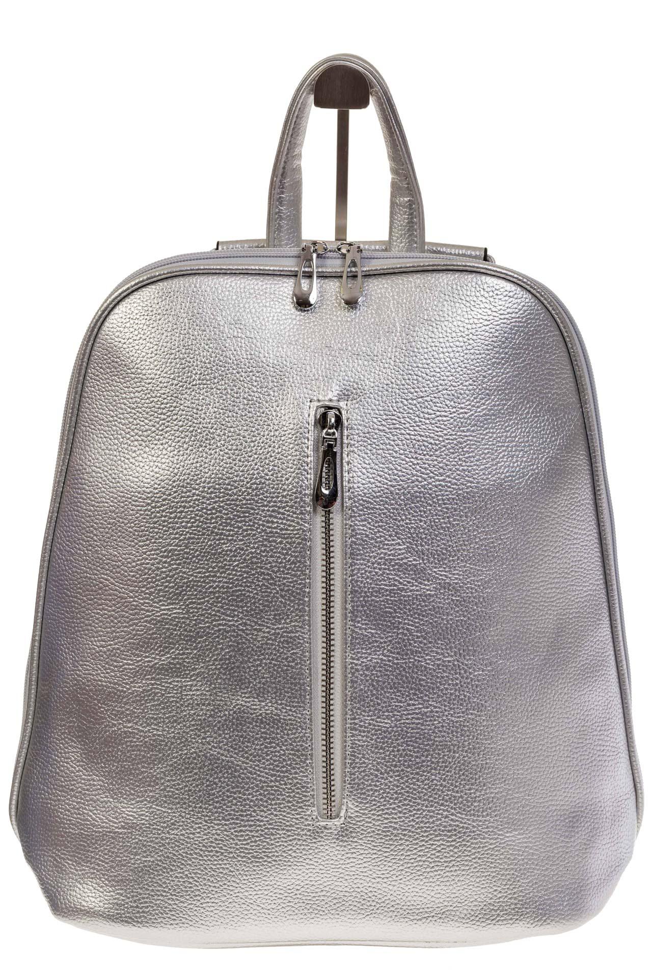 На фото 2 - Лаконичный рюкзак из искусственной кожи серебристого цвета