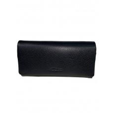 На фото 1 - Женский кошелёк-портмоне из натуральной кожи, цвет чёрный
