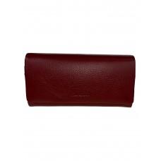 На фото 1 - Женский кошелёк-портмоне из натуральной кожи, цвет бордовый