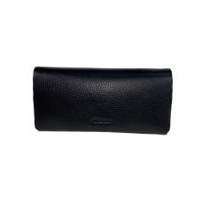 На фото 1 - Кожаный женский кошелёк портмоне, цвет чёрный
