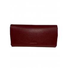 На фото 1 - Кожаный женский кошелёк портмоне, цвет бордовый