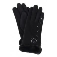 На фото 1 - Перчатки женские с искусственным мехом и вышивкой, цвет чёрный