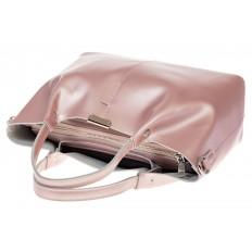 На фото 4 - Кожаный шопер розовый металлик 9921MK5