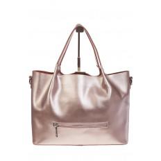 На фото 3 - Кожаный шопер розовый металлик