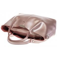 На фото 4 - Кожаный шопер розовый металлик