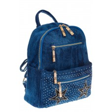На фото 1 - Джинсовый рюкзак со звездами 9950-35