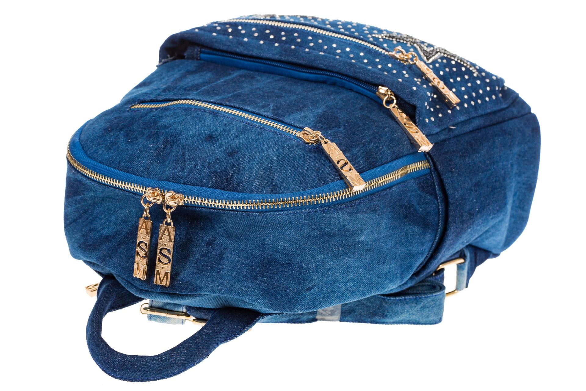 На фото 4 - Джинсовый рюкзак со звездами 9950-35