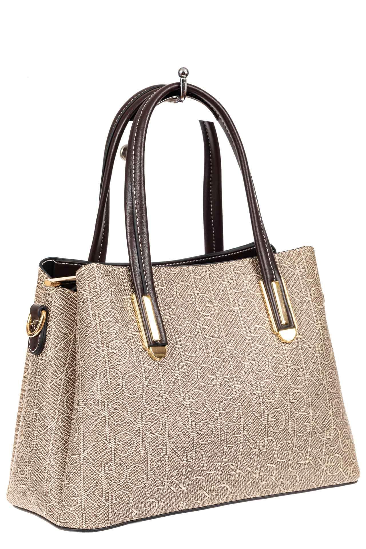 На фото 1 - Женская сумочка трапеция из принтованного кожзама, цвет серый